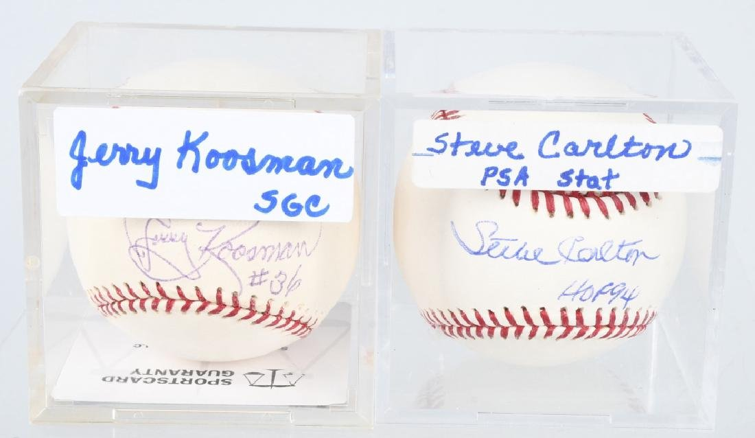 STEVE CARLTON & JERRY KOOSMAN SIGNED MLB BASEBALLS