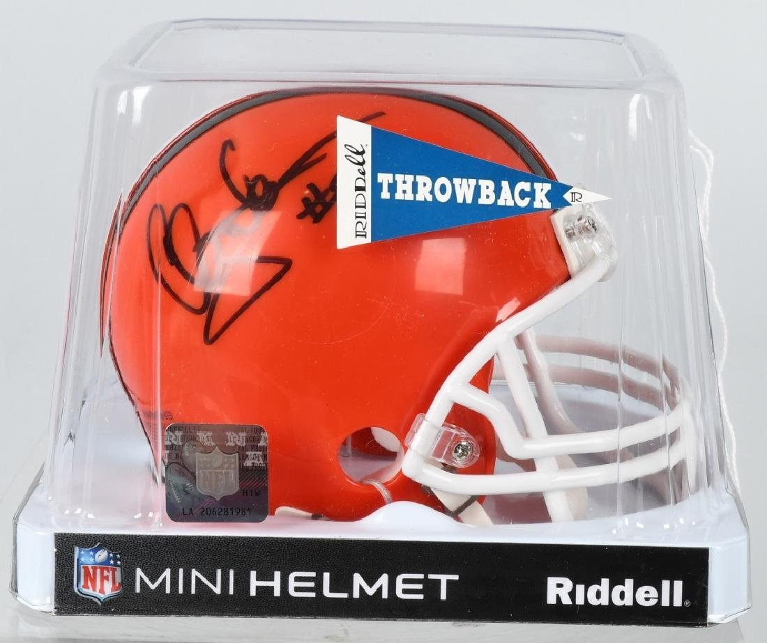CLAY MATTHEWS BROWNS SIGNED MINI-THROWBACK HELMET