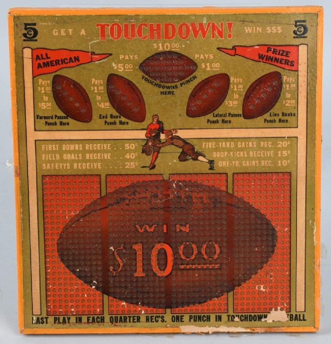 1920s-30s UNUSED WOODEN FOOTBALL PUNCH BOARD