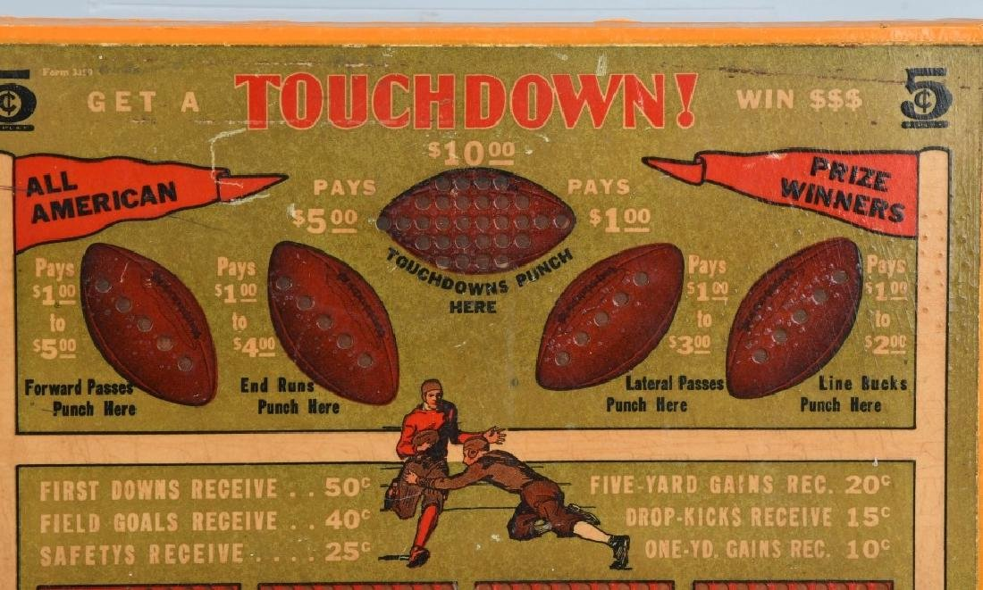 1920s-30s UNUSED WOODEN FOOTBALL PUNCH BOARD - 2