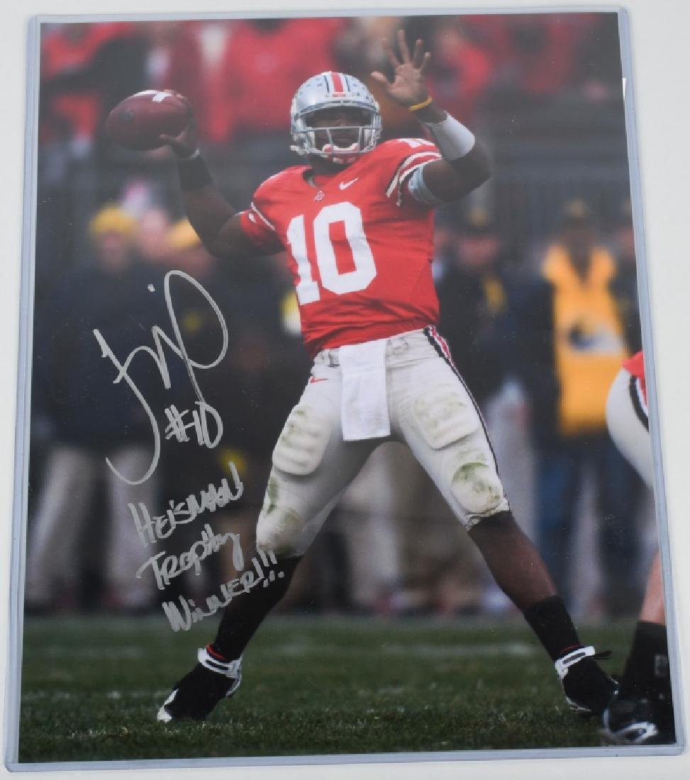 TROY SMITH SIGNED FOOTBALL 8X10 PHOTO