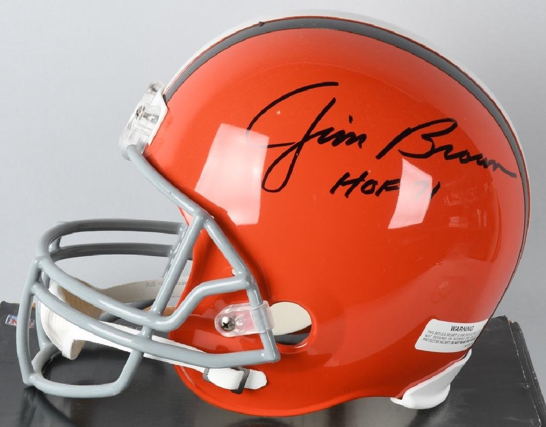 JIM BROWN FULL-SIZE BROWNS SIGNED FOOTBALL HELMET