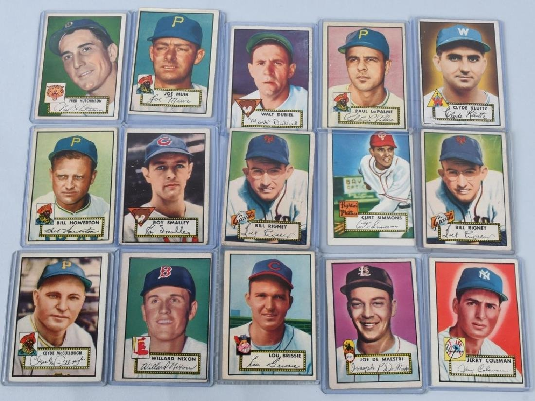 1952 TOPPS BASEBALL CARD LOT - 15 CARDS