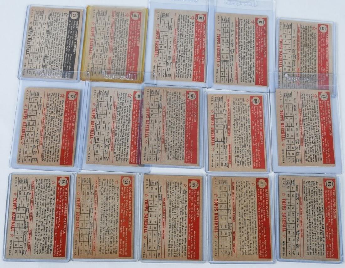 1952 TOPPS BASEBALL CARD LOT, - 15 CARDS - 6