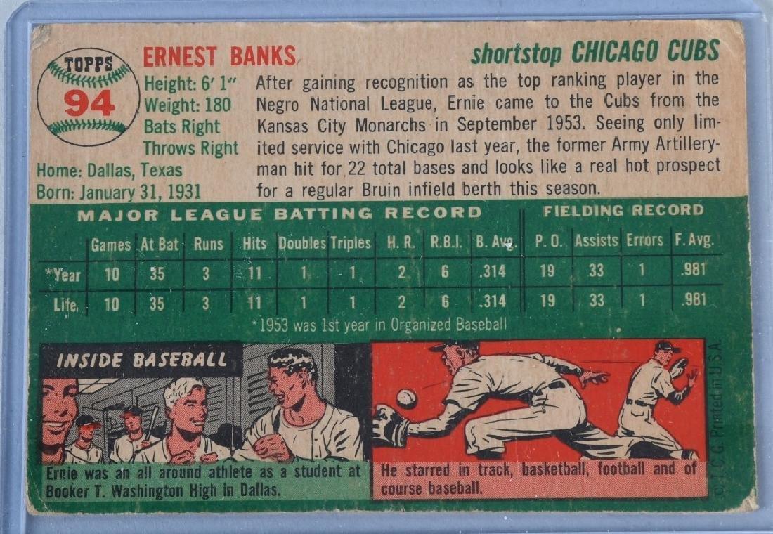 1954 TOPPS STAR ERNIE BANKS ROOKIE BASEBALL CARD - 2