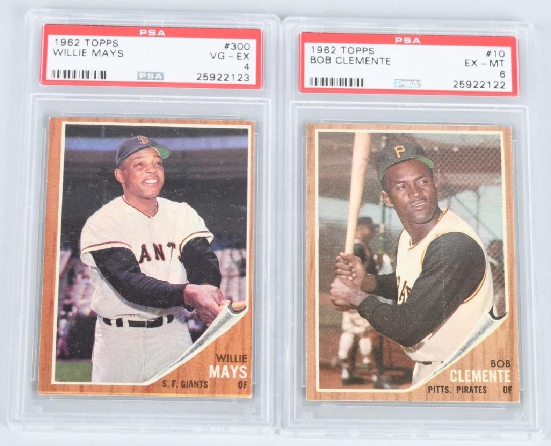 1962 TOPPS CLEMENTE & MAYS PSA GRADED