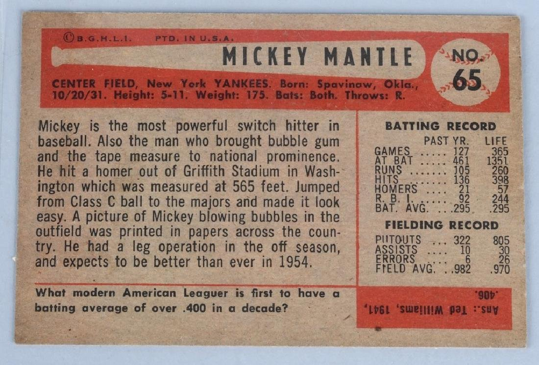 1954 BOWMAN #65 MICKEY MANTLE EX-NM - 2