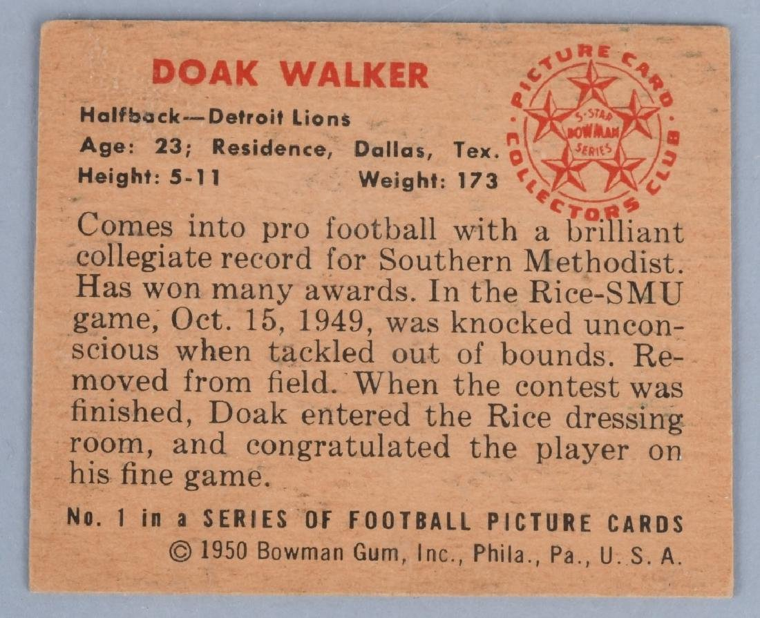 1950 BOWMAN #1 DOAK WALKER FOOTBALL CARD - 2