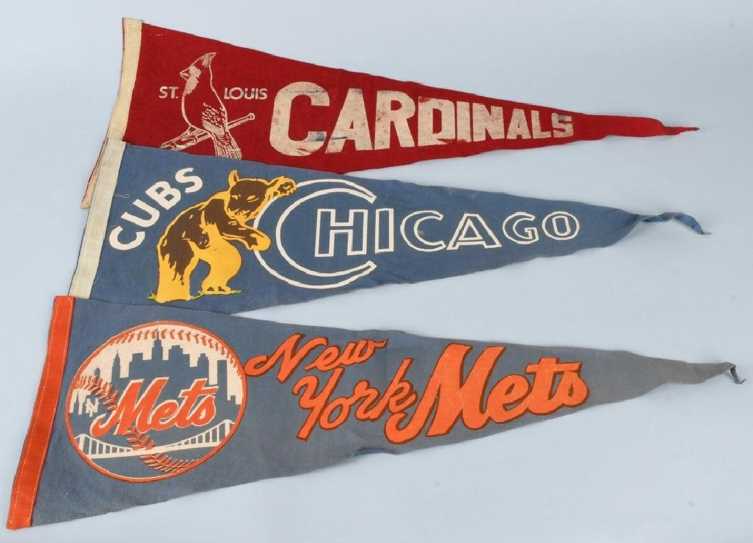 3- VINTAGE MLB BASEBALL PENNANTS