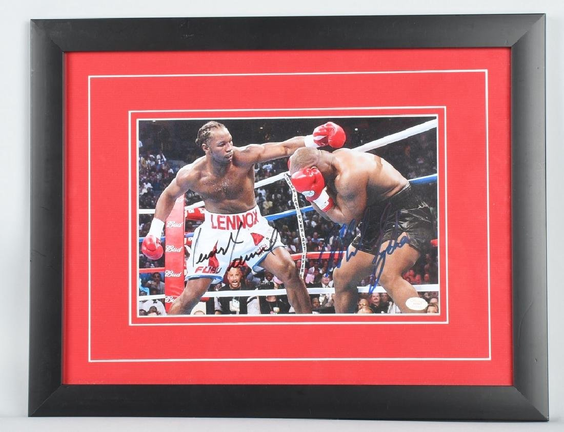 MIKE TYSON FIGHTING LEWIS SIGNED FIGHT PHOTO