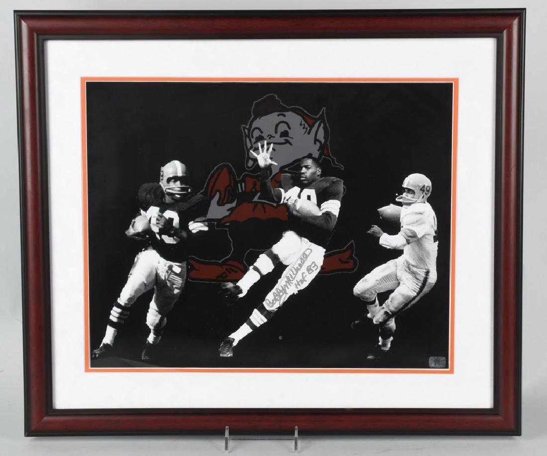 BOBBY MITCHELL- BROWNS SIGNED FOOTBALL PHOTO