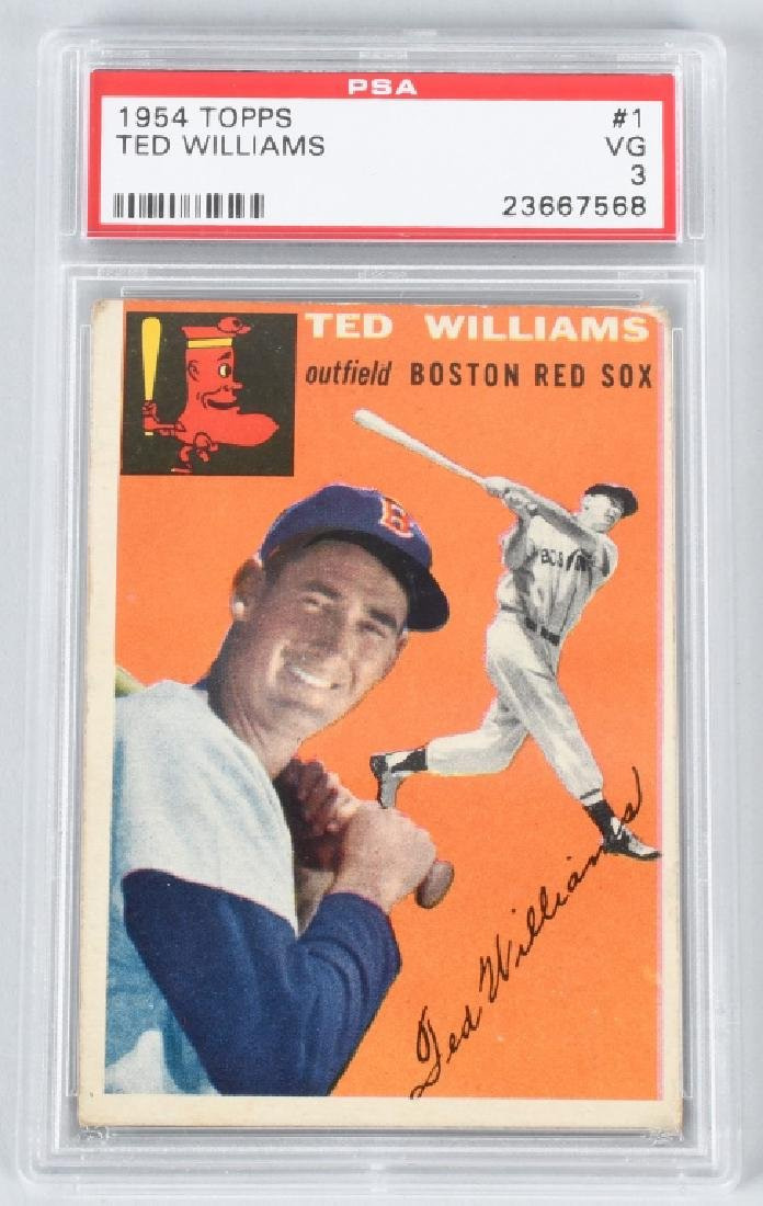 1954 TOPPS TED WILLIAMS #1 BASEBALL CARD PSA3