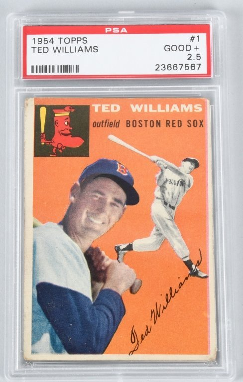 1954 TOPPS TED WILLIAMS #1 BASEBALL CARD PSA 2.5