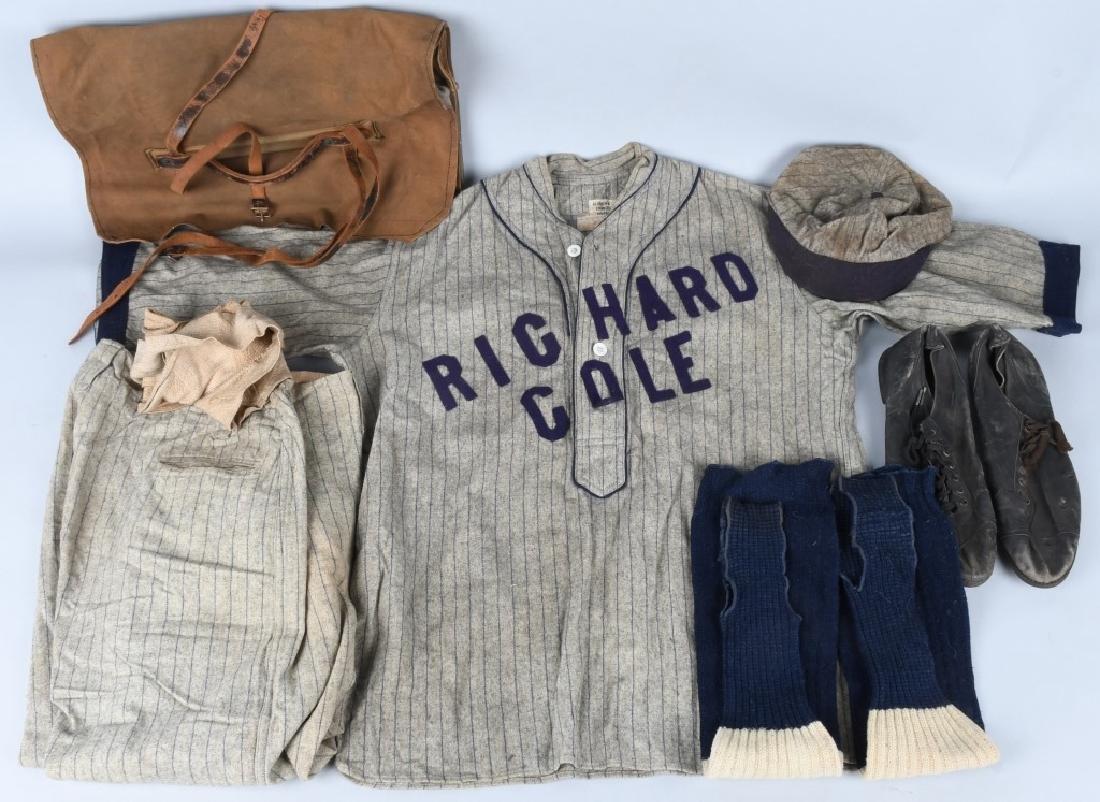 """EARLY 1900s BASEBALL UNIFORM """"RICHARD COLE"""""""