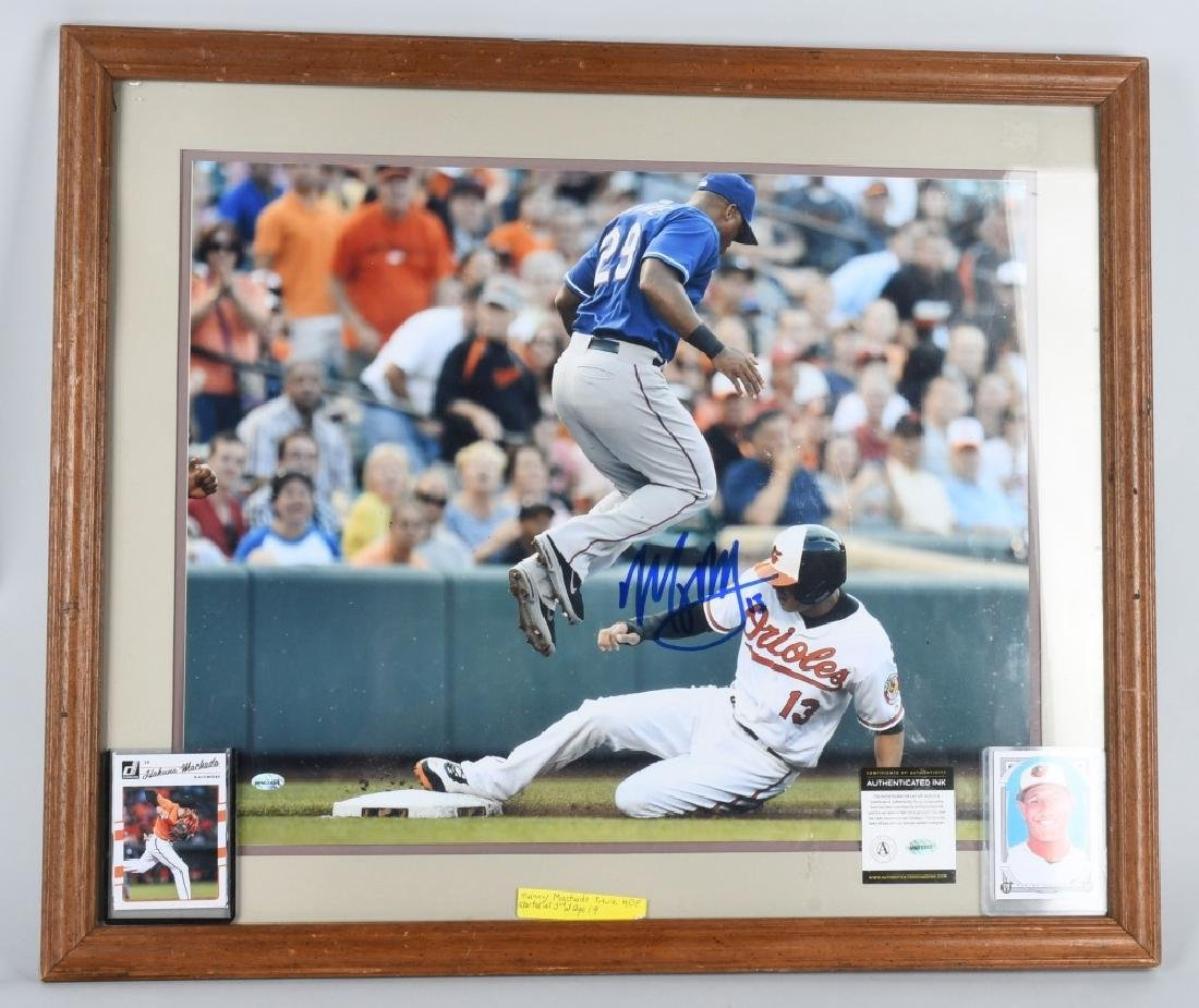 "MANNY MACHADO AUTOGRAPHED 26""X22"" FRAMED PICTURE"