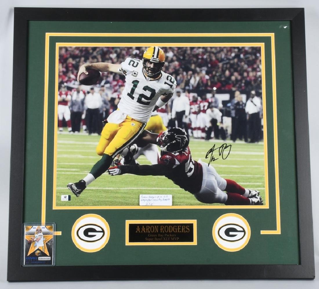 "AARON RODGERS AUTOGRAPHED 28""X26"" FRAMED PICTURE"