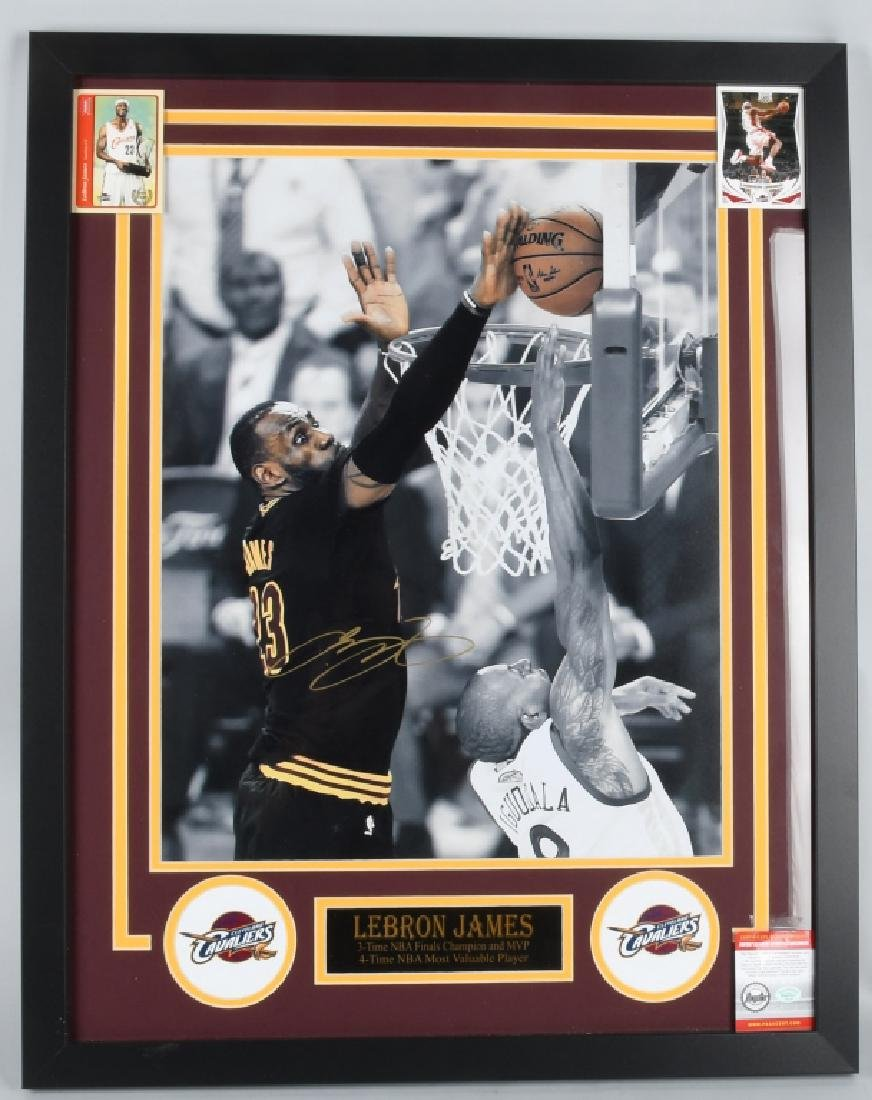 "LEBRON JAMES AUTOGRAPHED 29""X23"" FRAMED PICTURE"