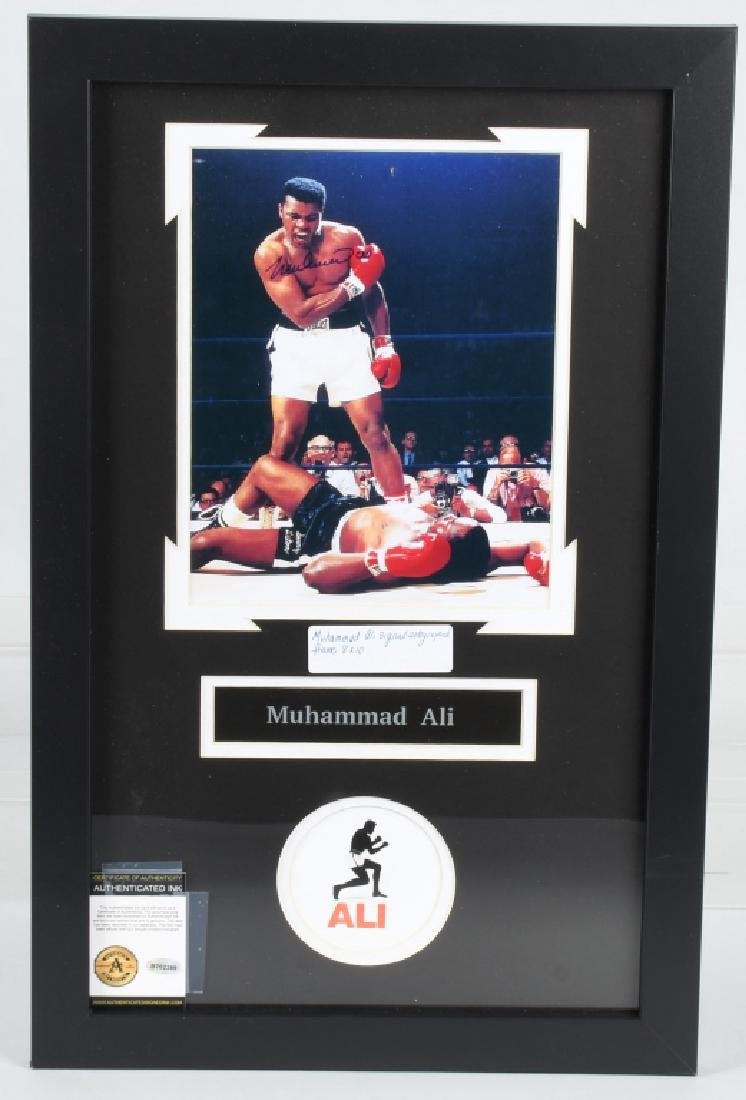 "MUHAMMAD ALI AUTOGRAPHED 22""X14"" FRAMED PICTURE"