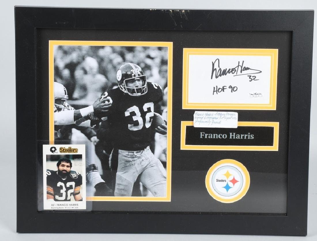 FRANCO HARRIS AUTOGRAPHED FRAMED PICTURE