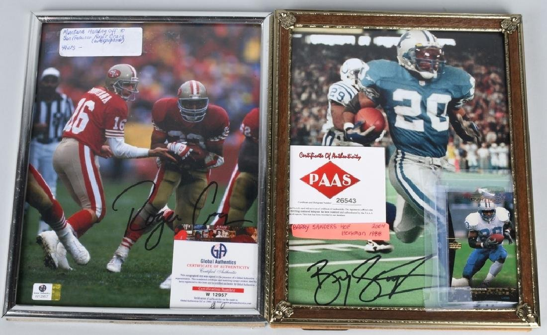 BARRY SANDERS & JOE MONTANA AUTOGRAPHED PICTURES