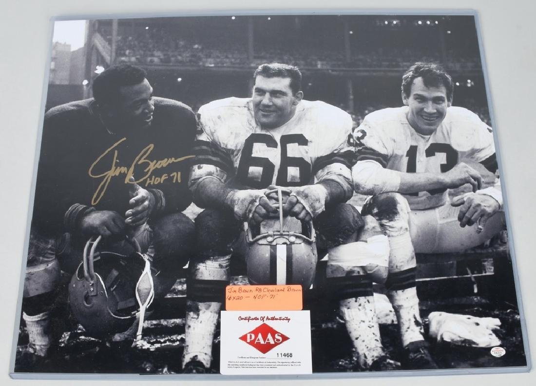 """JIM BROWN AUTOGRAPHED 20""""X16"""" PICTURE"""
