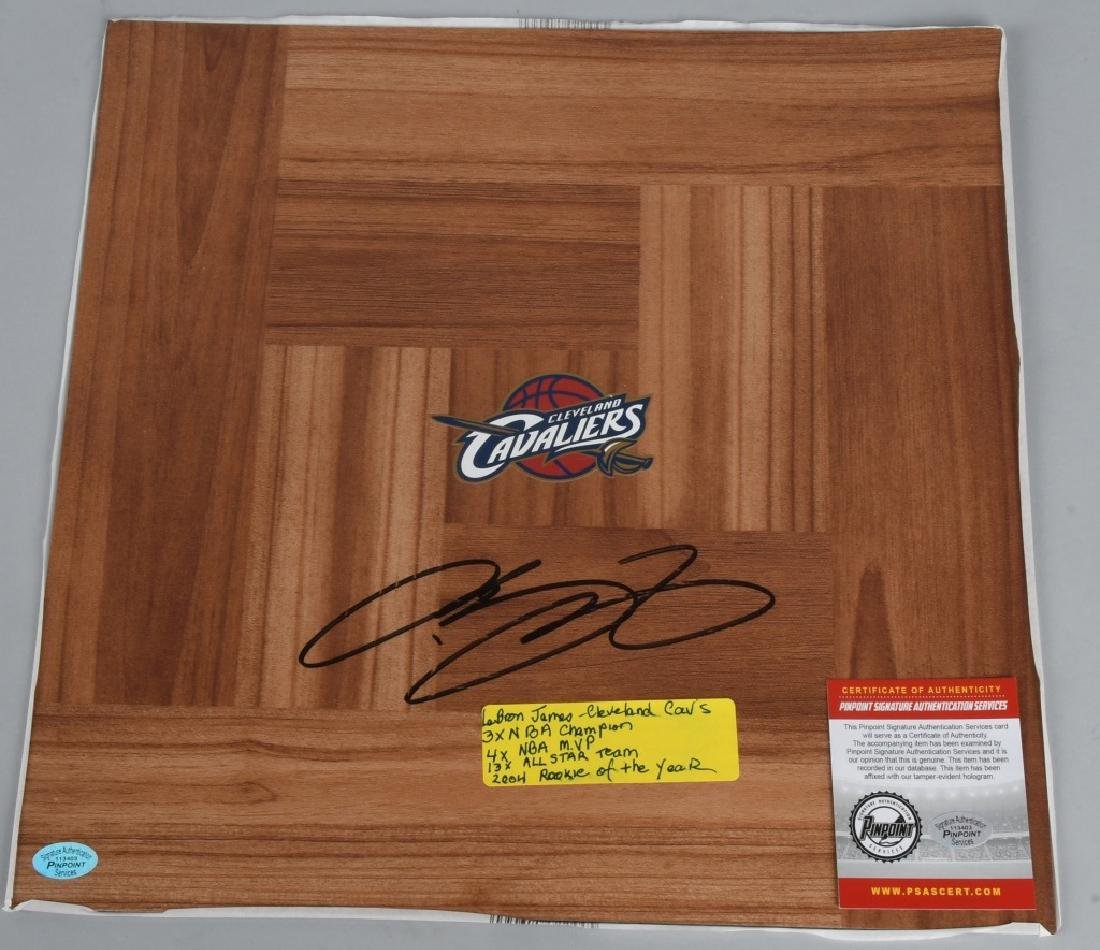 "LEBRON JAMES AUTOGRAPHED CAVS 12""X12"" FLOOR TILE"
