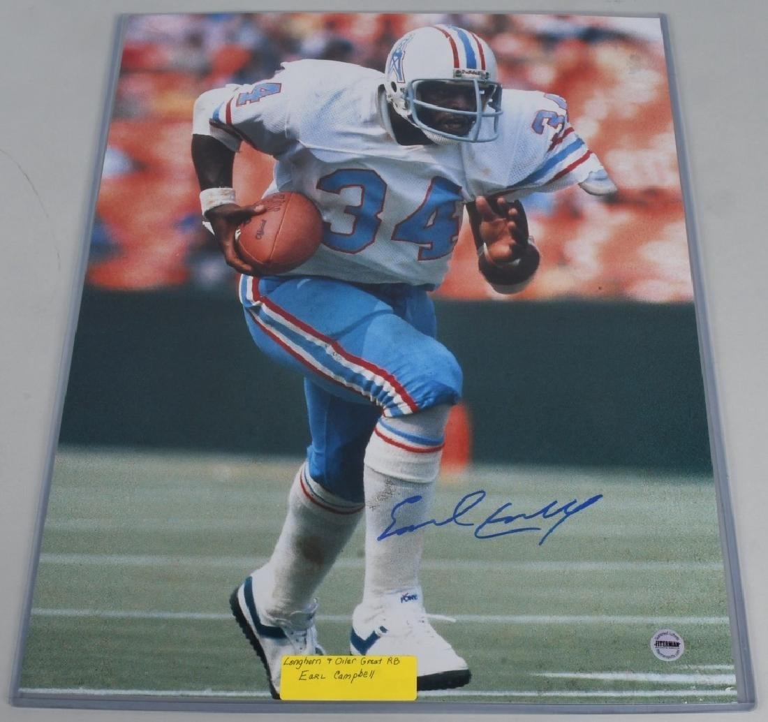 "OILERS EARL CAMPBELL AUTOGRAPHED 20""X16"" PICTURE"