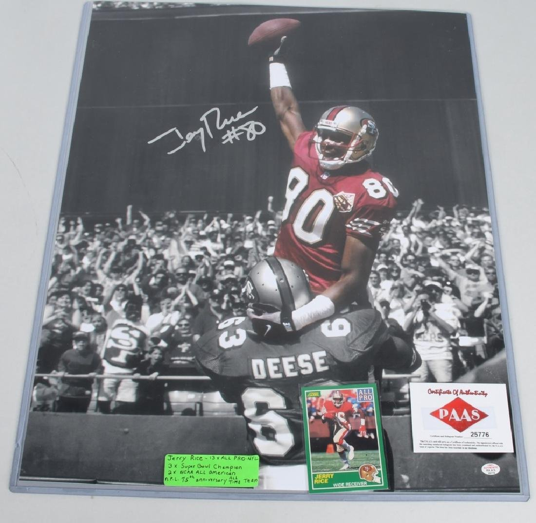 """49ers JERRY RICE AUTOGRAPHED 20""""X16"""" PICTURE"""
