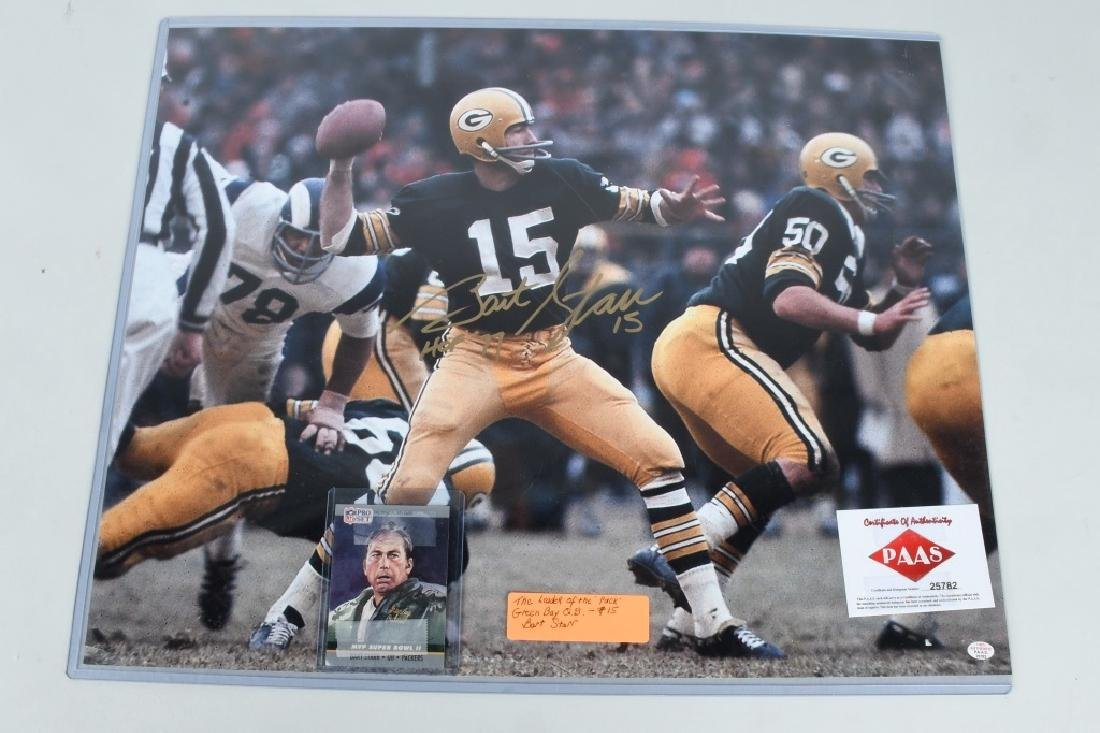 "BART STARR AUTOGRAPHED 20""X16"" PICTURE"