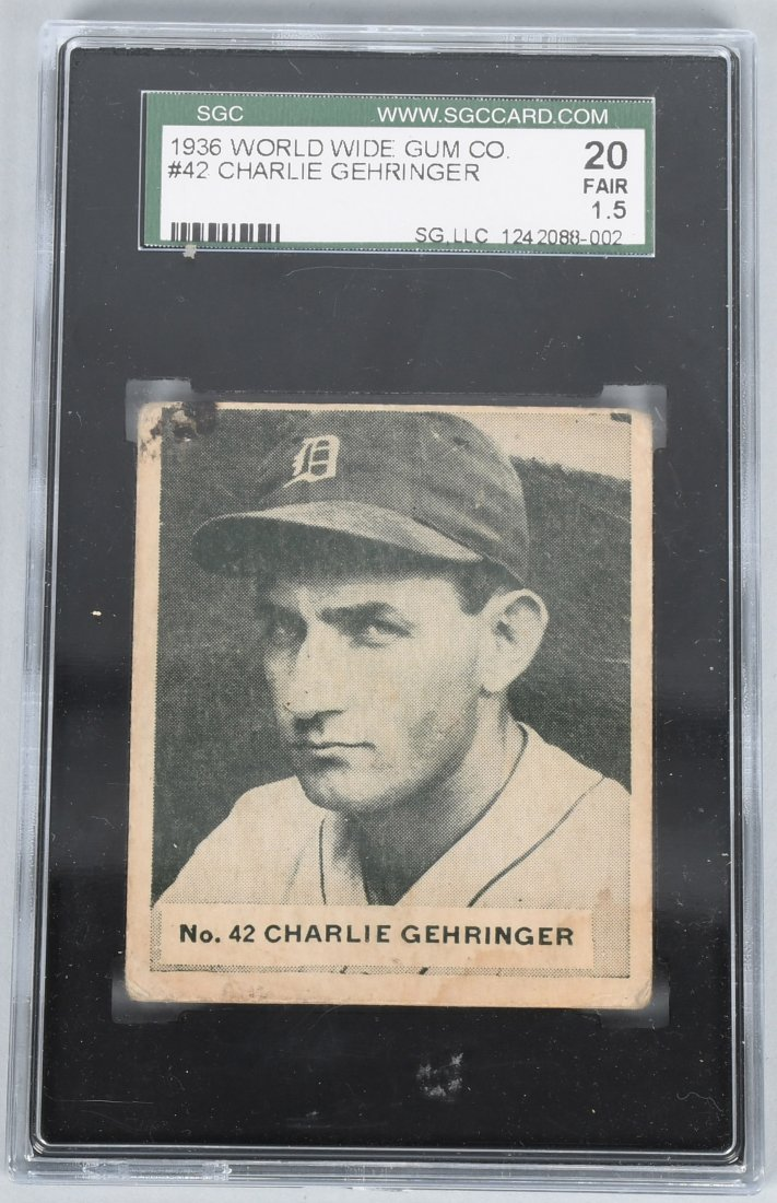 1936 WORLD WIDE GUM #42 CHARLIE GEHRINGER SGC 1.5