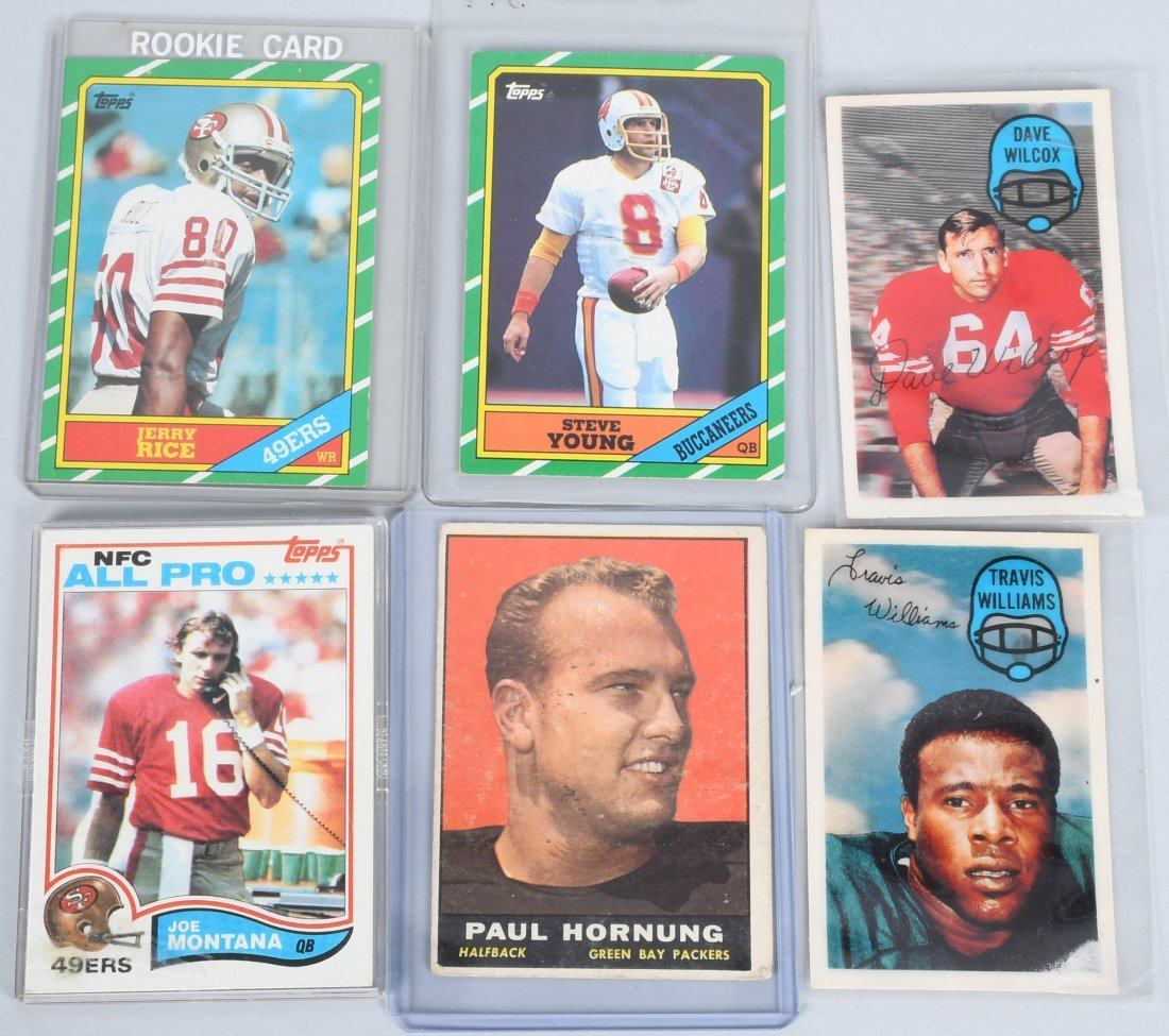 6- FOOTBALL CARDS RICE, YOUNG ROOKIES, & MORE