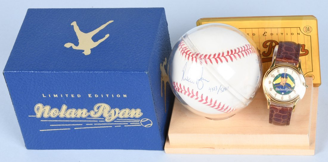 FOSSIL NOLAN RYAN WATCH w/ AUTOGRAPHED BASEBALL