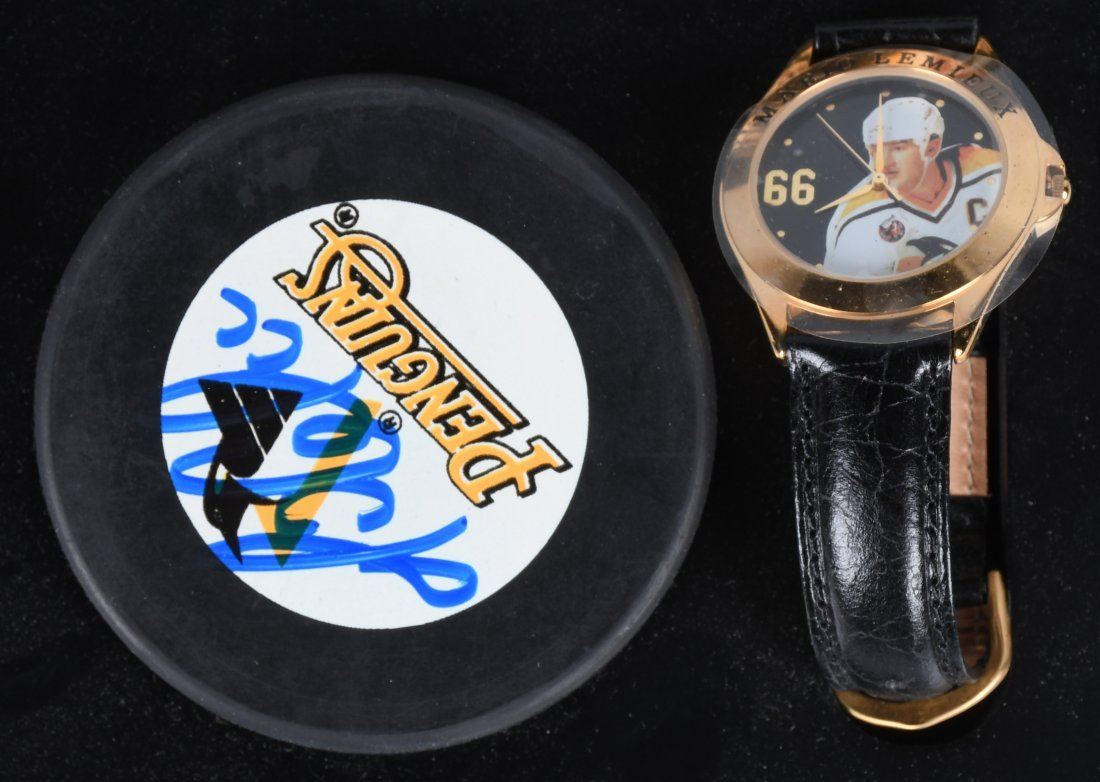 FOSSIL MARIO LEMIEUX WATCH & SIGNED PUCK MIB - 2
