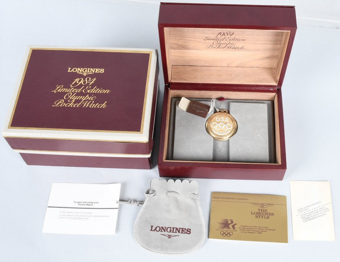 LONGINES 1984 OLYMPIC 14k GOLD POCKET WATCH MIB