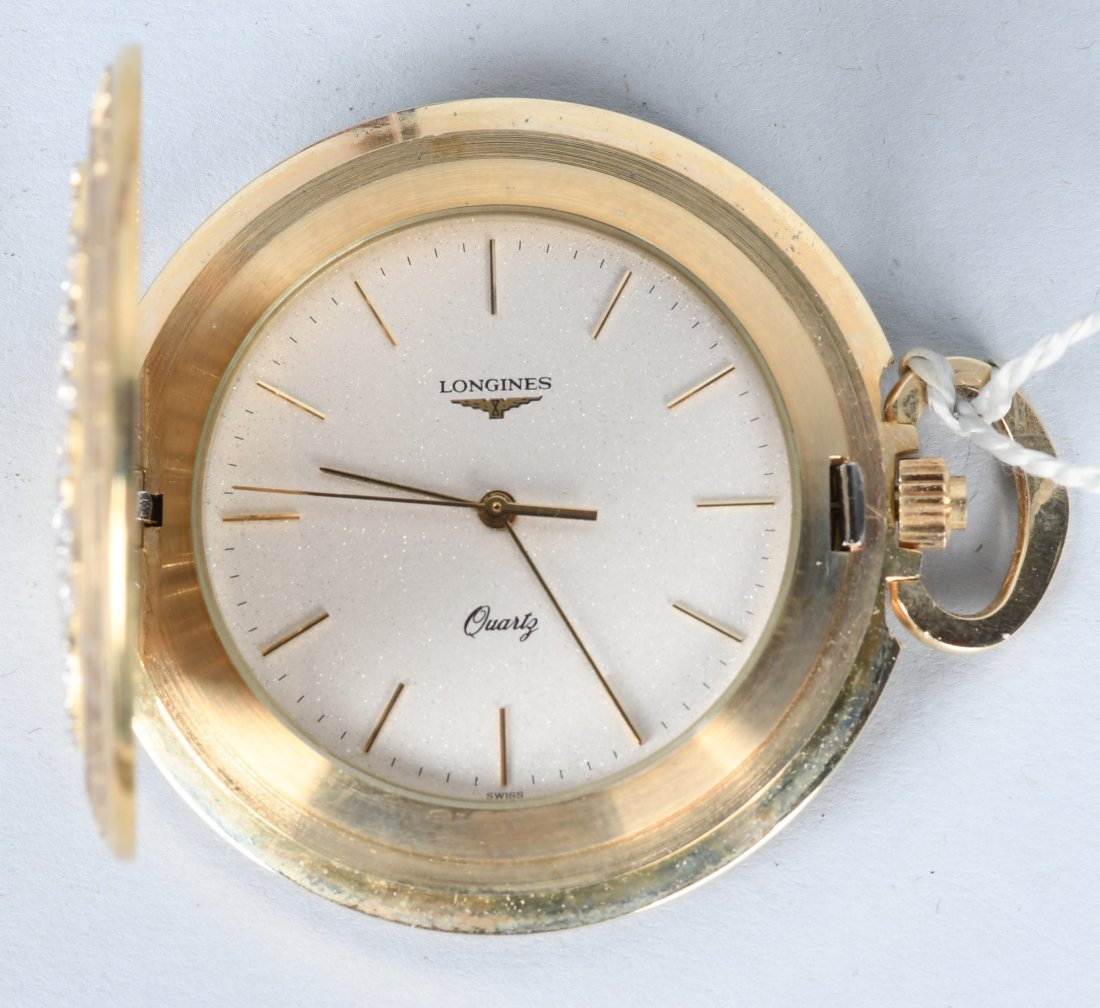 LONGINES 1984 OLYMPIC 14k GOLD POCKET WATCH MIB - 4