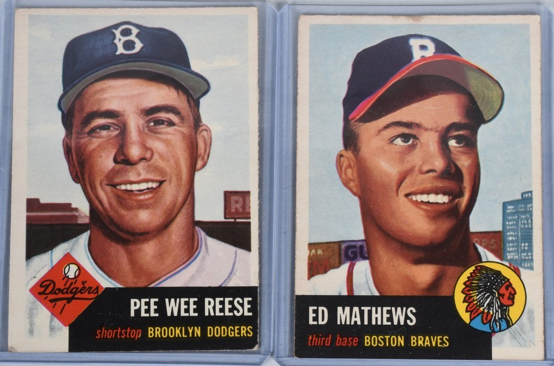 1953 TOPPS ED MATHEWS & PEE WEE REESE CARDS