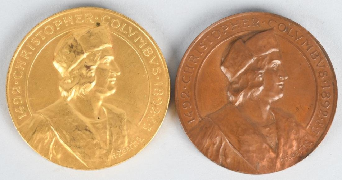 2- 1982 CHRISTOPHER COLUMBUS GOLD & SILVER MEDALS