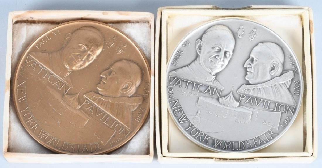 2- 1964 NY WORLDS FAIR VATICAN PAVILION MEDALS
