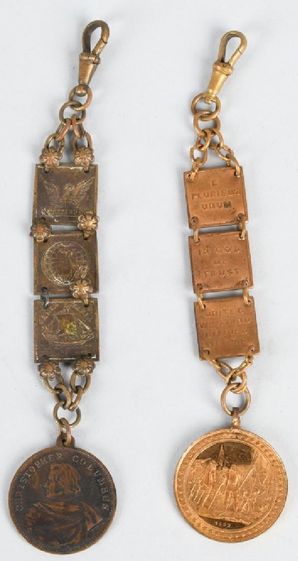 2- 1893 COLUMBIA EXPOSITION WATCH FOB