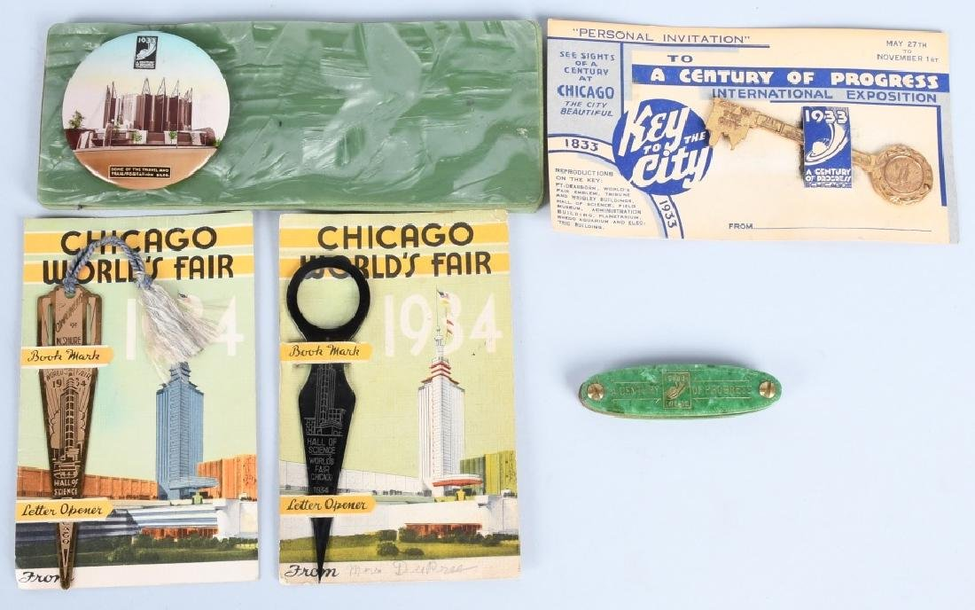 5- 1933 CHICAGO WORLDS FAIR SOUVENIRS