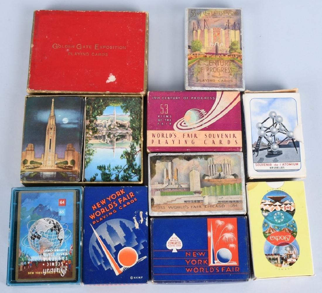 9- WORLDS FAIR DECKS OF PLAYING CARDS