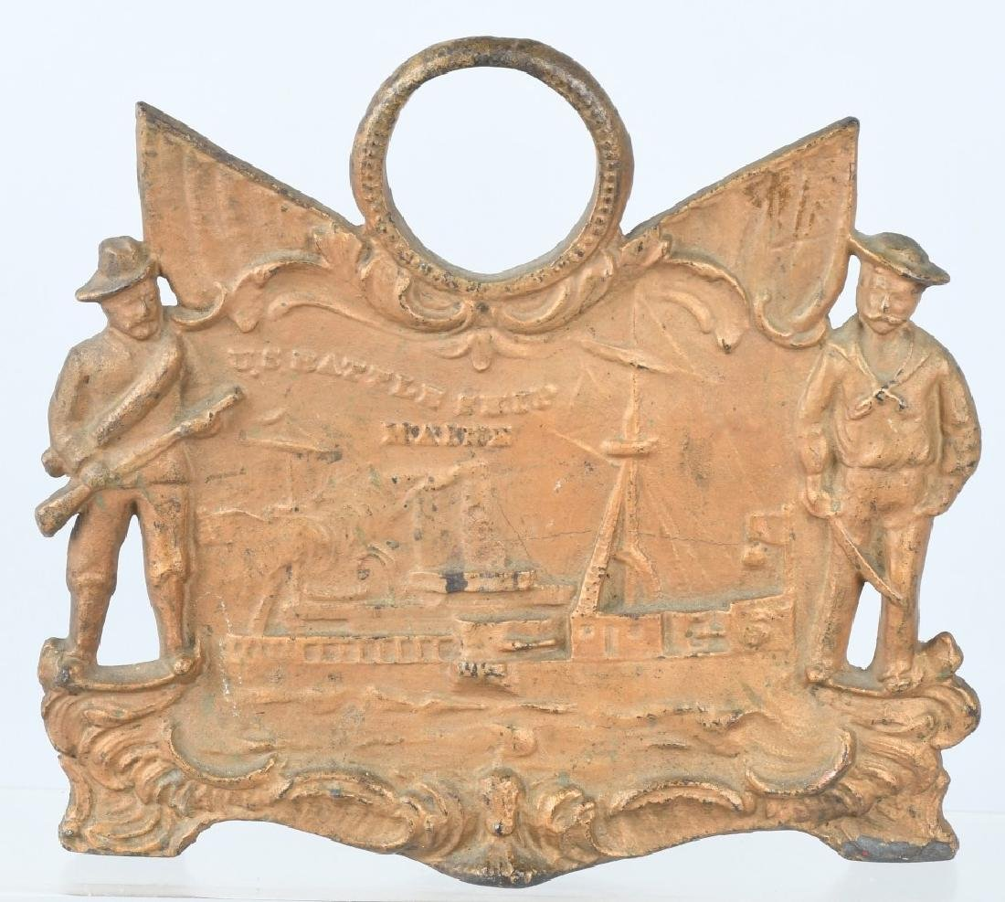US BATTLE SHIP MAINE CAST IRON CLOCK BASE