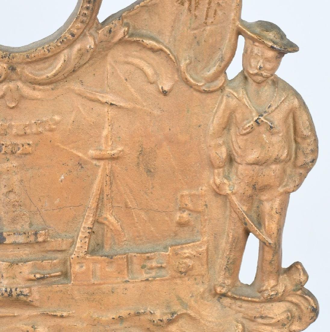 US BATTLE SHIP MAINE CAST IRON CLOCK BASE - 3