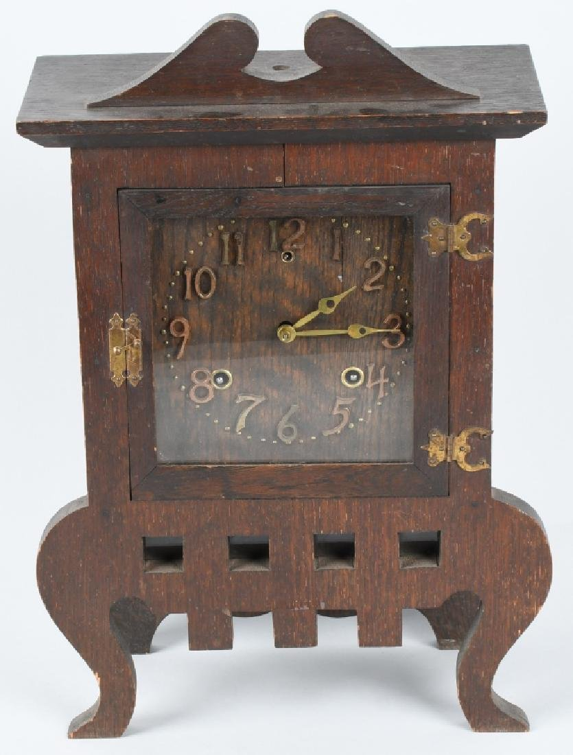 SESSIONS IONA 1908 ARTS & CRAFTS OAK CLOCK
