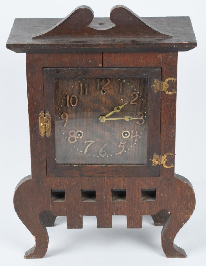 SESSIONS IONA 1908 ARTS & CRAFTS OAK CLOCK - 2