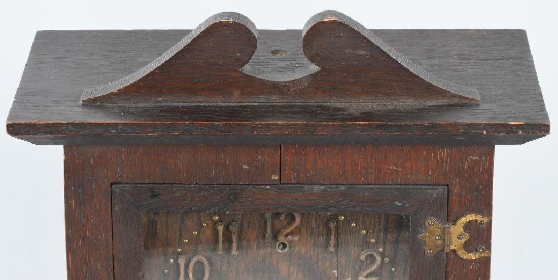 SESSIONS IONA 1908 ARTS & CRAFTS OAK CLOCK - 5