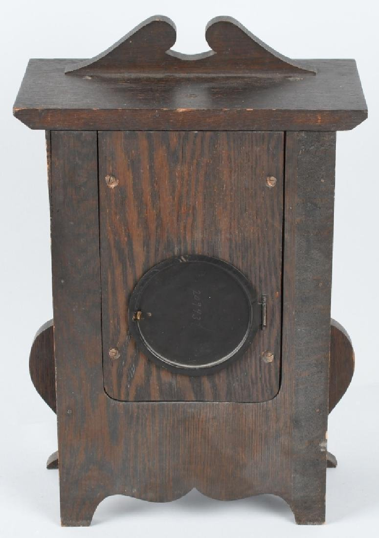 SESSIONS IONA 1908 ARTS & CRAFTS OAK CLOCK - 6