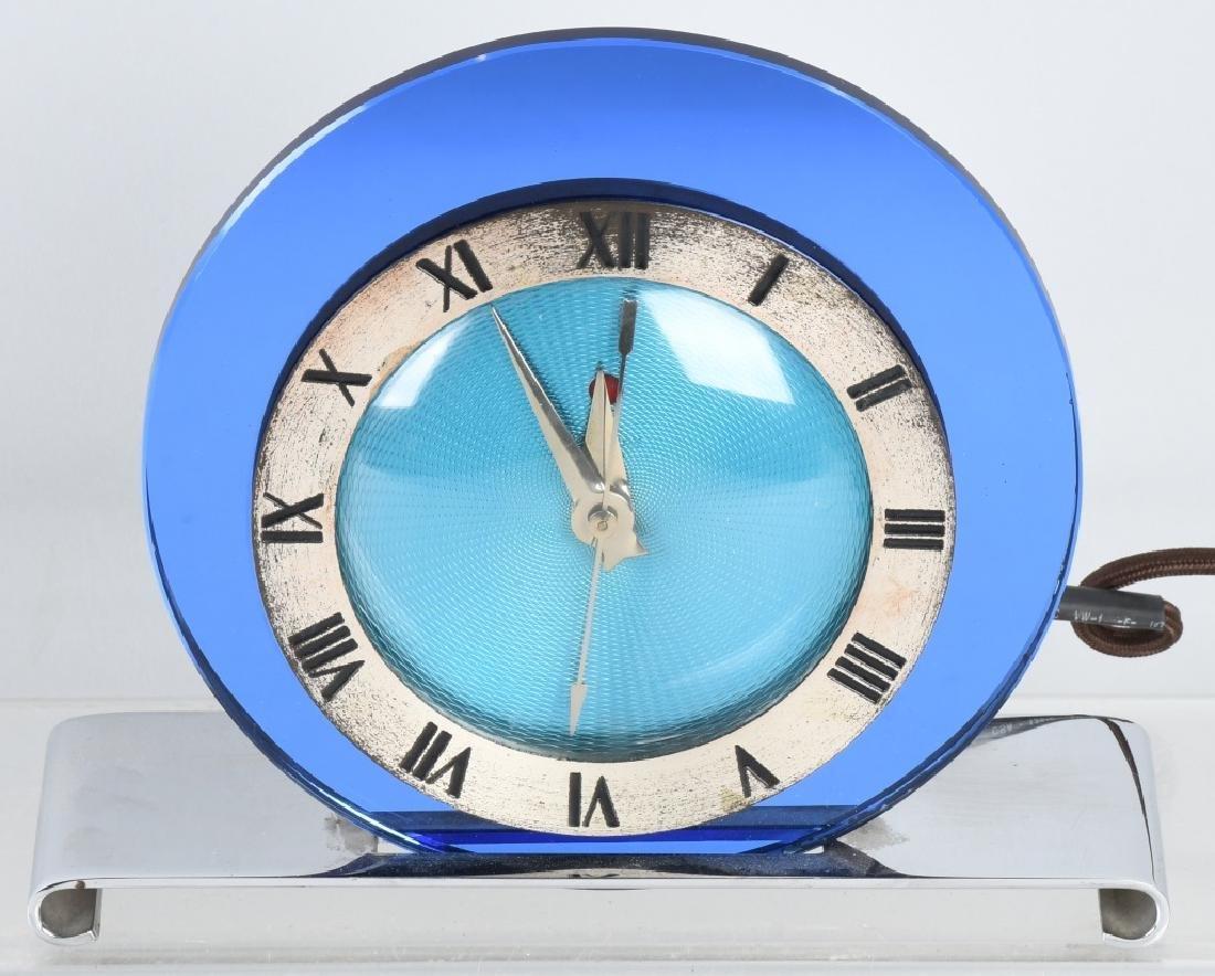 TELECHRON ART DECO BLUE MIRROR CLOCK