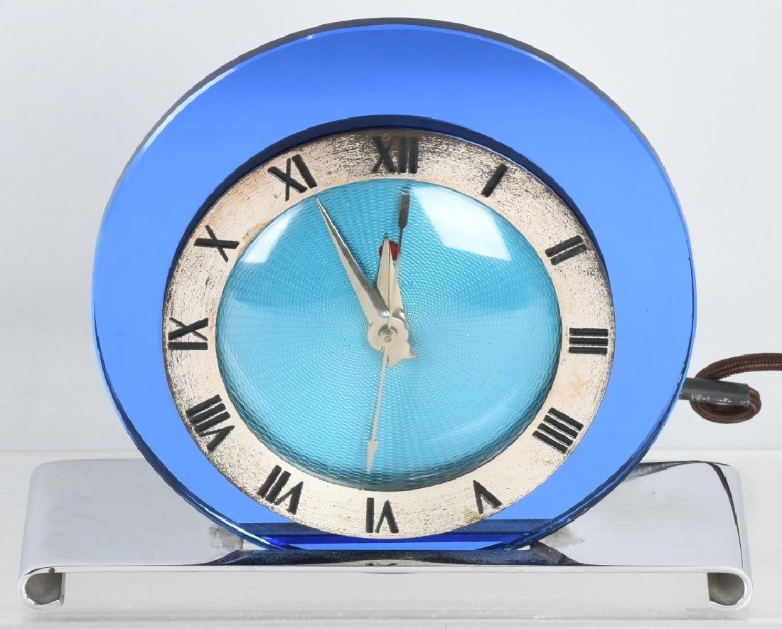 TELECHRON ART DECO BLUE MIRROR CLOCK