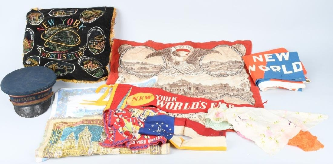 WORLDS FAIR PILLOW, HAT, & HANDKERCHIEFS
